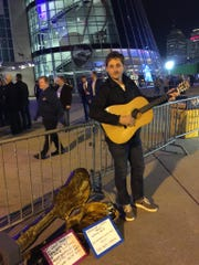 Sturgill Simpson busked outside the CMA Awards in Nashville on Wednesday.