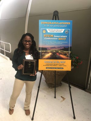 FAMU student and cheerleader Amber Hannah won second place during the 2017 STEM Innovators Conference.
