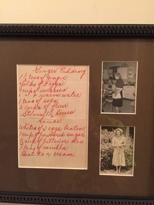The recipe for Granny Tuttle's ginger pudding that hangs in Peggy Landes's kitchen.