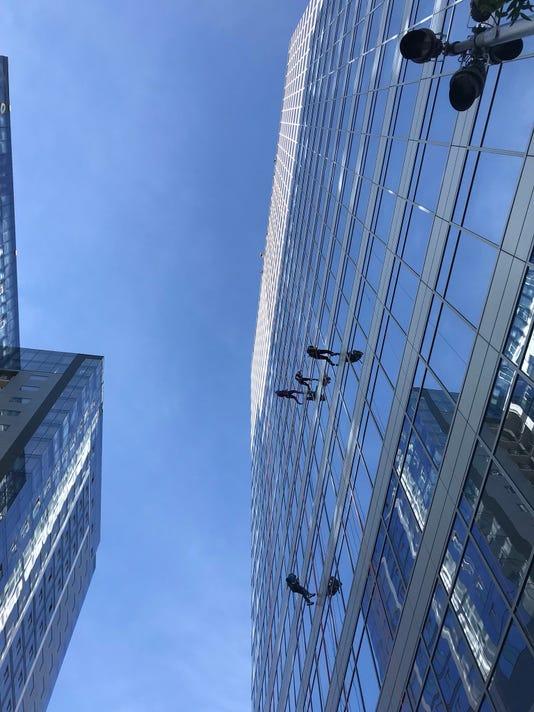 Rappelling over Phoenix CityScape