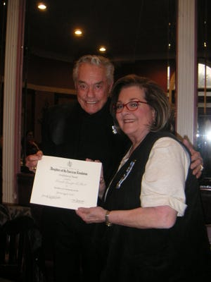 Regent Juanita Baker presents Donnie Dunagan with the Community Service Award at a recent meeting of San Angelo's Pocahontas Chapter of the Daughters of the American Revolution meeting on Jan. 16,