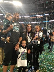 York's Will Beatty didn't get to play in Super Bowl LII with the Eagles, but he and his family still got to celebrate the victory. Will his holding son, Demetrius. Also pictured is daughter Victoria (middle), wife, Rebecca, and daughter Alessandra (right).