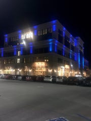 The lights at the Taylor Farms building turned blue on Wednesday night in honor of Salinas Police Cmdr. Dave Crabill Sr.'s last working day.