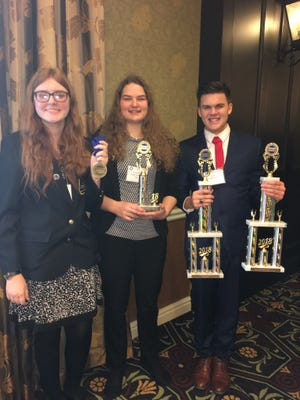 From left to right: Franklin County Career and Technology Center students Samantha Cantrell, Hannah Moats and Ian Starr were recognized at this year's DECA (Distributive Education Clubs of America) state competition, which was held on Feb. 21-23 in Hershey.