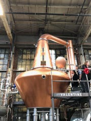 A custom-made, 1,500-gallon still inside Valentine Distilling Co.'s new Ferndale production facility.