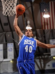 Hamilton Southeastern's Gary Harris (40) goes up for