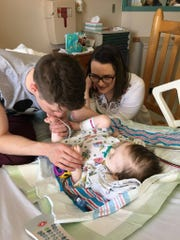 Nathanael and Amy Medlin are staying with their 10-month-old