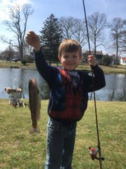 Bernie Rodgers, 4, Eatontown with a trout he caught
