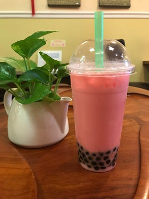 Watermelon bubble tea at Tea Talk in the Town of Poughkeepsie.
