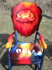 Furniture painted for The Funky Chair Project will be auctioned to support Monk Botanical Gardens.