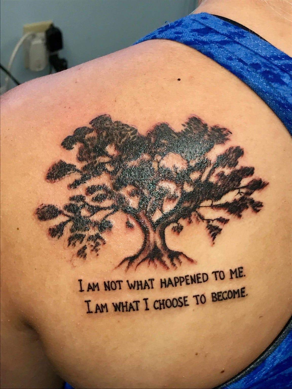 A tattoo on Kylie Redman's left shoulder blade reminds