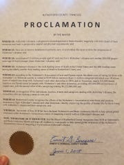 """Rutherford County Mayor Ernest Burgess signed a proclamation declaring June 2018 """"Alzheimer's and Brain Health Awareness Month"""" in the county."""