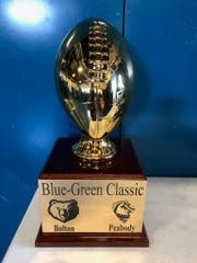 The Blue-Green Classic Trophy's base can hold 18 results on each side for a total of 54 games.