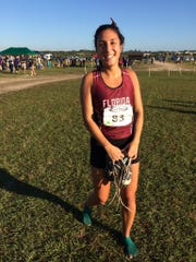 Marina DeBiasi is all smiles after finishing another race for Florida Tech.