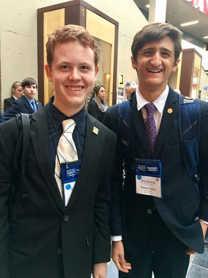 Best friends John D. Cobb and Alexander YarKhan, founders of the nonprofit RefugeeLikeMe, were semifinalists for the Young Entrepreneurs Academy in Rochester, New York.