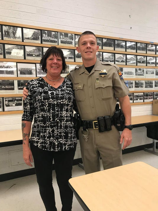 DPS Trooper Tyler Edenhofer with his mother