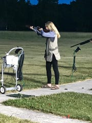Maddie Propsom competes at Door County Rod & Gun Club during the Clipper Clay's Thursday rec league.