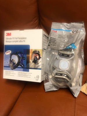 Dr. Johhny Thomas, director of anesthesia services at Mercy Ardmore, said these 3M full face respirators are capable of filtering at N95 levels. The Mercy anesthesia team is switching over to these masks to conserve PPE.