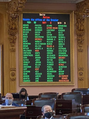 The tally of the official 90-0 vote to remove Republican Larry Householder as speaker of the Ohio House.
