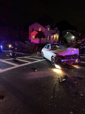 Two were hospitalized in a Braintree crash Wednesday night. Oct. 21, 2020.