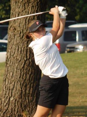 Pekin's Rachel Filarski follows through on a shot during an Aug. 25 competition at Kellogg Golf Course in Peoria.