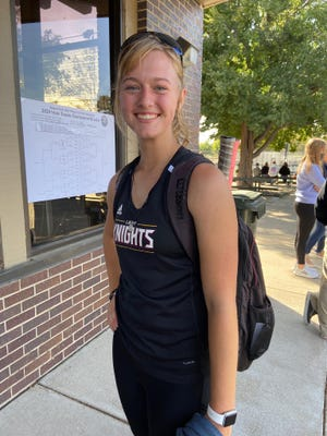 Victoria's Brooklynn Kuhn earned third place in Class 3-2-1A state tennis tournament in Victoria.