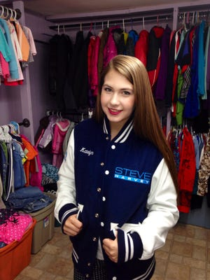 Katelyn Darrow wears the jacket she got on the show.