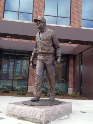 Bo Schembechler statue outside renovated Schembechler Hall.