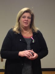 Jennifer Stalker, the mother of Paige Stalker, speaks at a press conference at Crime Stoppers of Michigan on Wednesday.
