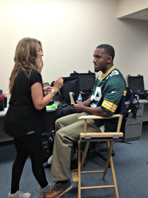 Green Bay Packers cornerback Casey Hayward has makeup applied Tuesday at a commercial shoot for Cellcom in De Pere. The spot, which also features head coach Mike McCarthy, will begin airing in September.