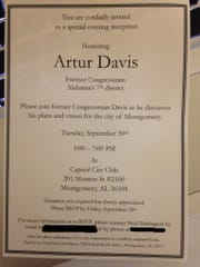 A group called 'Artur Davis for Mayor' sent this invitation out earlier this week.  Davis said the group was set up to conform with state law, and that he has not yet made a decision on whether to enter the Montgomery mayor's race in 2015
