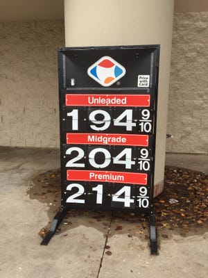 With a 3-cent discount card, regular unleaded gas was $1.94 a gallon at the St. Louis Street Dillons Wednesday afternoon.