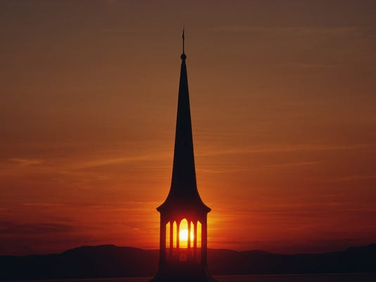church steeple at sunset