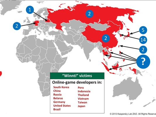 Map of hacked gaming companies