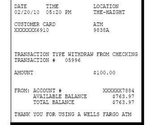 ATM receipt