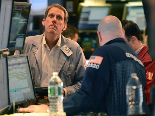 stock exchange trader looks up