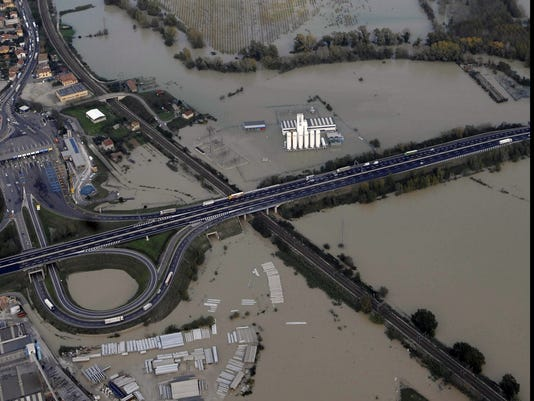 Italy floods aerial