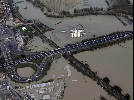 Italy floods aerial