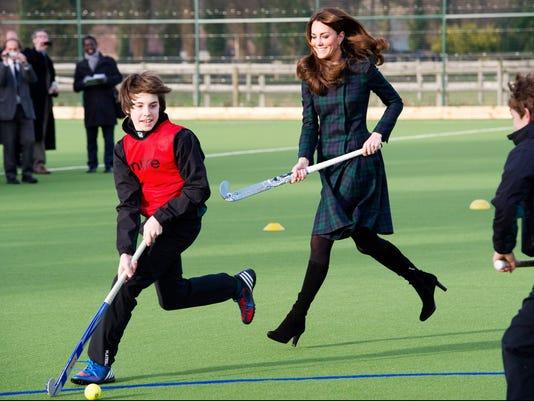 Catherine Duchess of Cambridge plays hockey