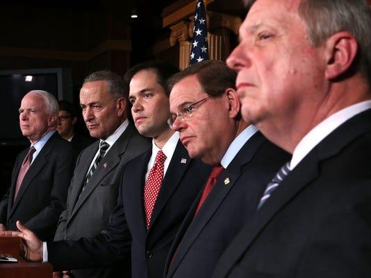 senators immigration mccain durbin rubio menendez schumer 2013