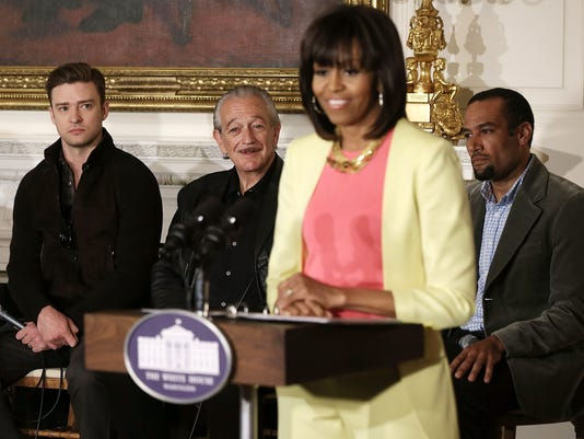First lady Michelle Obama and musicians