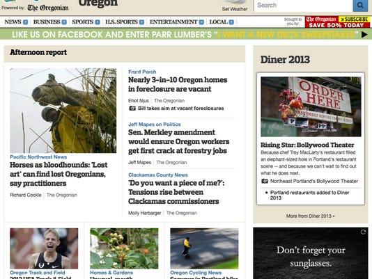 Oregonian web page