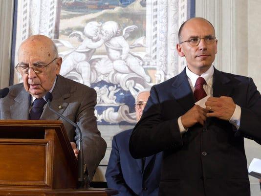Italian premier-designate Enrico Letta and Italian President Giorgio Napolitano