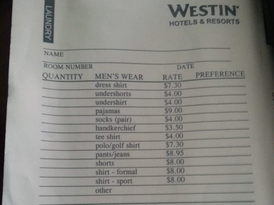Hotel Laundry List Price List Hotel Laundry