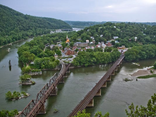 A view looking down on Harpers Ferry, W.Va., at the conjunction of the Shenandoah, left, and the Potomac Rivers.
