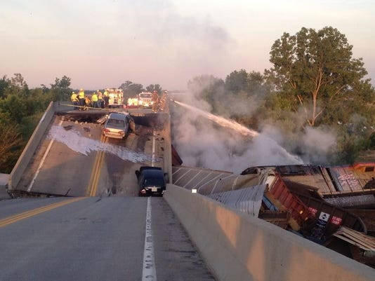7 injured in Mo. train collision, overpass collapse