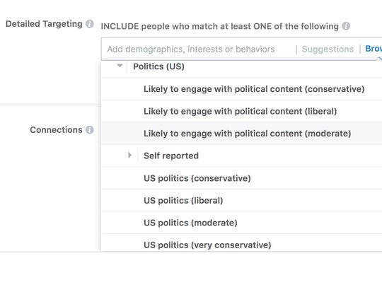 A page showing some of the detailed targeting that buyers can use to target ads to specific groups on Facebook.