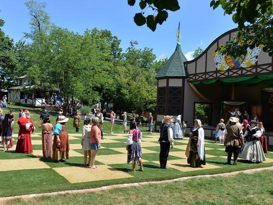 Dancing on the chess squares at the Pennsylvania Renaissance Faire. Barbara West-Lebanon Daily News