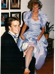 Kristie Harrold with her date in 1986.