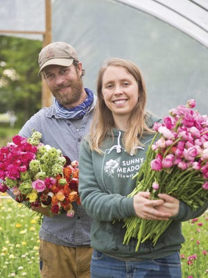 Gretel and Steve Adams, owners of Sunny Meadows Flower Farm